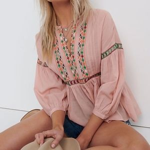 Lucky Brand Embroidered Peasant Top Med NWT